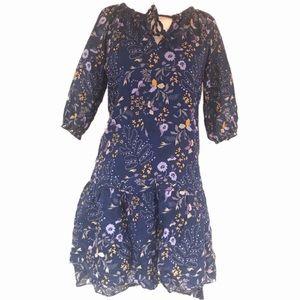 GAP Blue Floral Dress 3/4 Sleeve